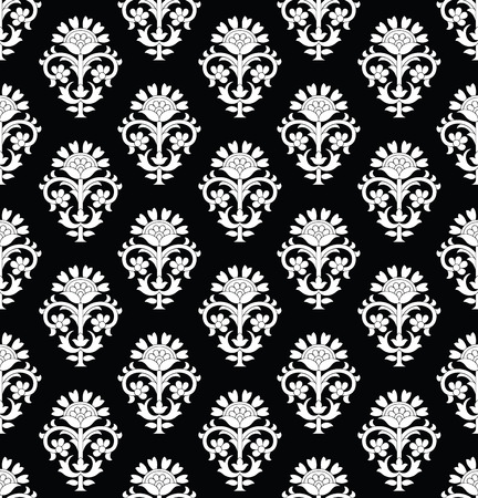 Damask seamless black and white wallpaper.