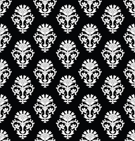 Damask seamless black and white wallpaper.