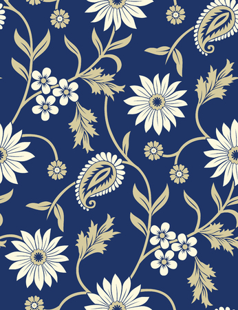 Seamless traditional indian blue paisley with floral pattern Illustration