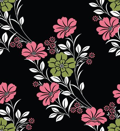 Seamless vector flower pattern on black background