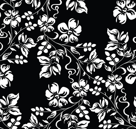 Seamless black and white damask floral wallpaper