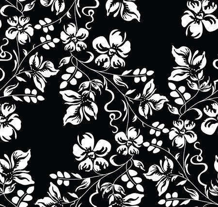 sin fisuras damasco floral blanco y negro de fondo floral