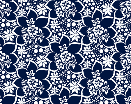 Seamless rich damask dark blue vector wallpaper Çizim