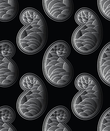 Seamless vector paisley pattern design with emboss effect