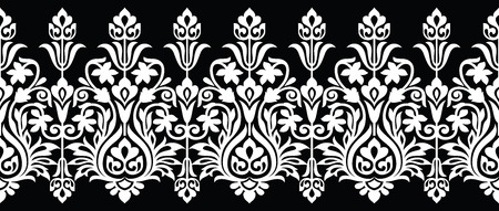 Seamless floral vector border for lace Stock Illustratie