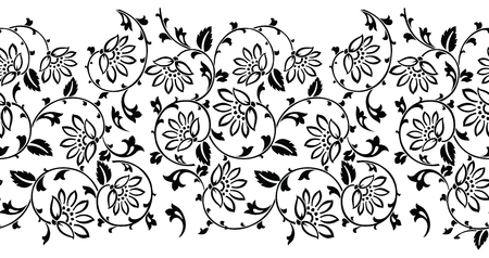 Black and white seamless floral border