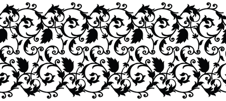 Seamless black and white swirly border Banque d'images - 103428112
