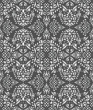 Seamless rich silver damask wallpaper