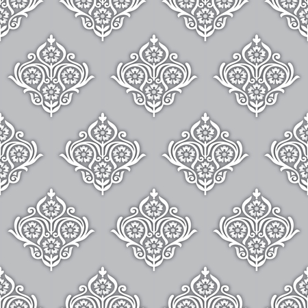 Seamless silver rich damask wallpaper Vectores