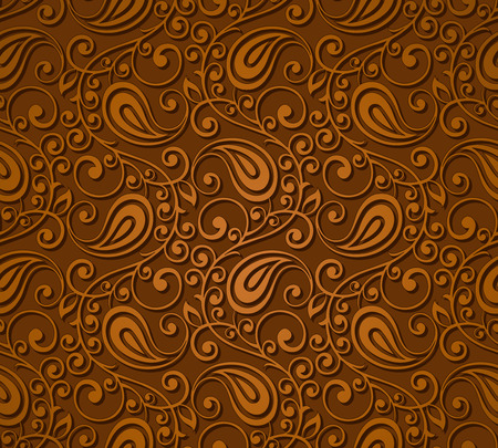Seamless brown paisley wallpaper  イラスト・ベクター素材