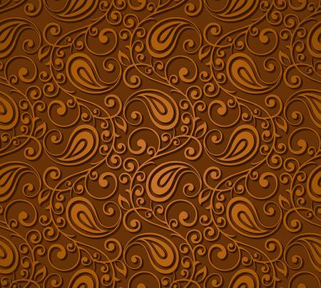 Naadloos bruin paisley behang