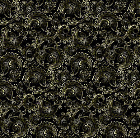 Seamless golden paisley on dark background