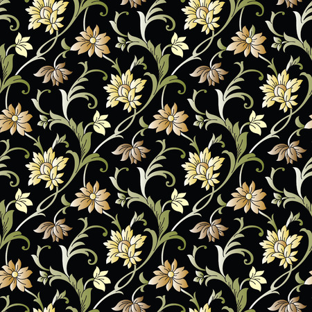 Seamless fancy vector floral wallpaper