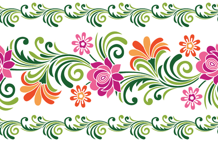 Seamless fancy floral border Vecteurs