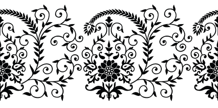 Seamless traditional indian black and white floral border