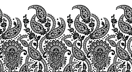 Seamless black and white paisley border Illustration