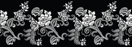Seamless black and white rose flower border Vetores