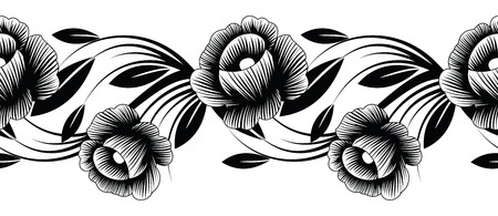 Bordure florale transparente noir et blanc