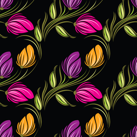 Seamless tulip floral pattern Stock Illustratie