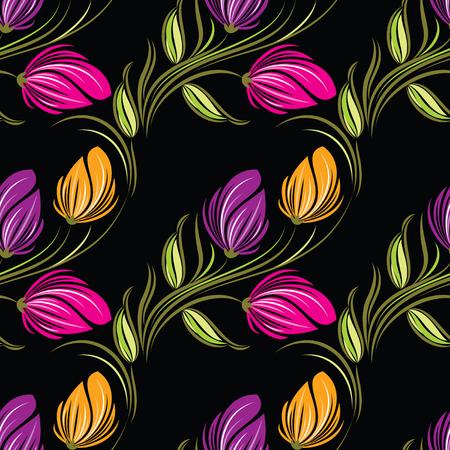 Seamless tulip floral pattern Illustration