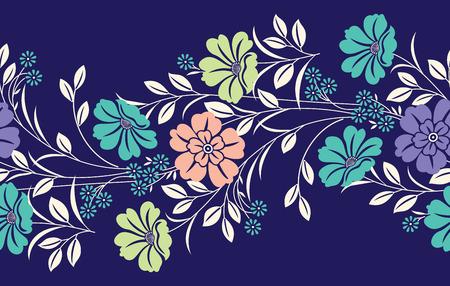 Bordure fleurie textile sans soudure Vecteurs
