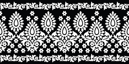 Seamless black and white paisley border Çizim