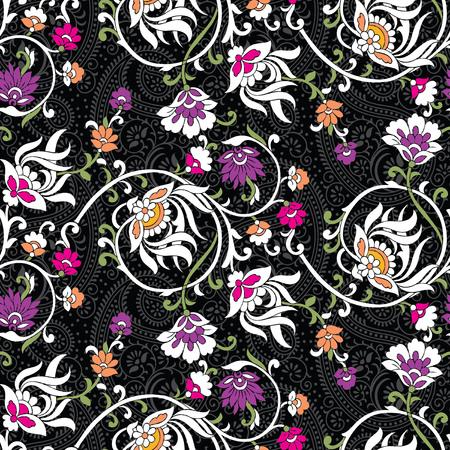 Motif de fleurs vintage sans couture avec paisley