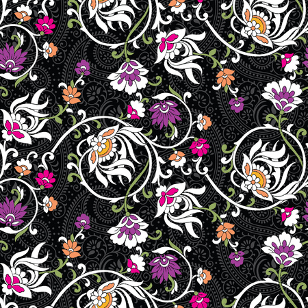 Seamless vintage flower pattern with paisley
