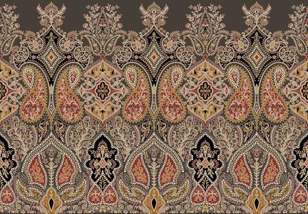 Traditional seamless indian paisley border 版權商用圖片