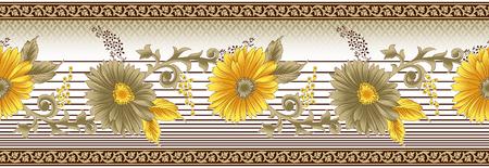 Seamless vintage yellow sunflower border