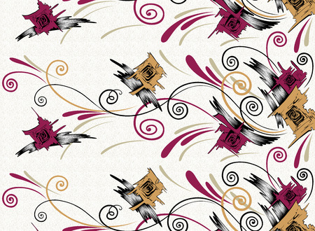 Seamless abstract swirly floral textile design border Stock fotó