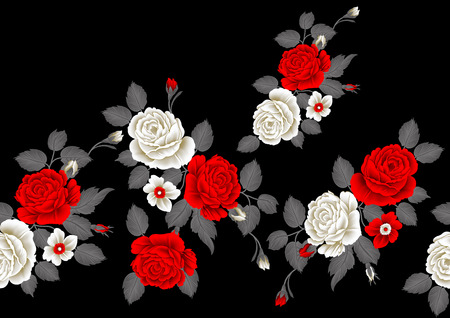 Seamless rose flower border on black background