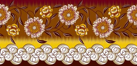 Seamless textile sun flower border design