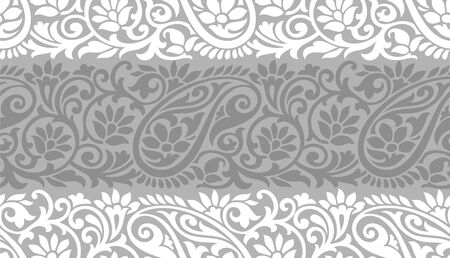 Seamless gray traditional indian paisley pattern 일러스트