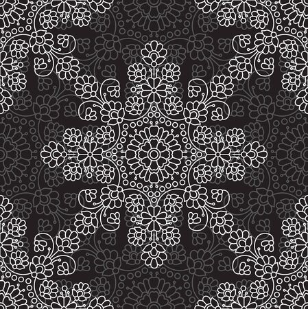 Seamless black and white damask floral pattern