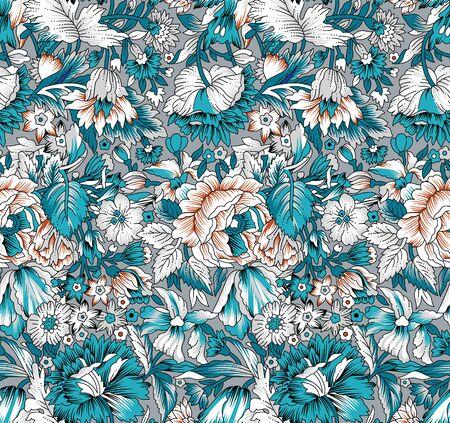 Seamless vintage vector floral pattern Vektorové ilustrace