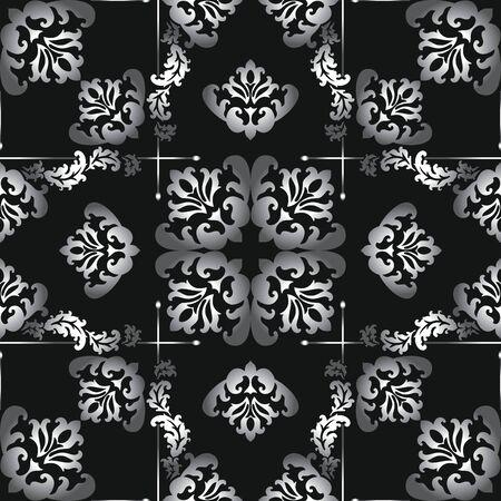 Motivo damascato vettoriale in bianco e nero senza soluzione di continuità