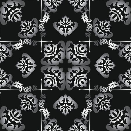 Seamless black and white vector damask pattern