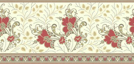 シームレスな伝統的なインドの織物花の境界線