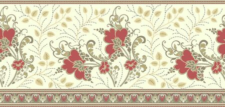 Seamless traditional indian textile floral border