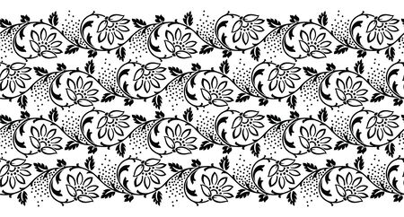 Seamless black and white vintage vector textile floral border