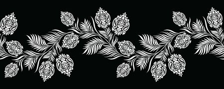 Seamless black and white vintage vector textile floral border with paisley