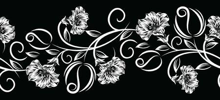 Seamless vector black and white rose flower border