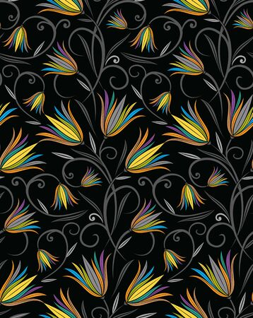 Colorful seamless fancy floral pattern Stock Illustratie