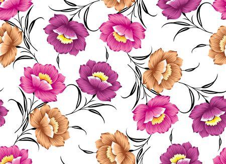 Textile flower pattern on white background