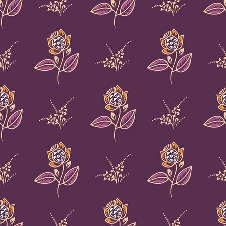 Seamless small vintage rose flower pattern Illustration