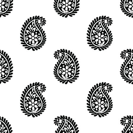 Seamless traditional indian black and white paisley pattern