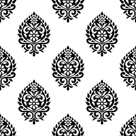 Seamless black and white vintage damask wallpaper design  イラスト・ベクター素材