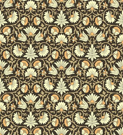 Seamless traditional indian damask floral pattern