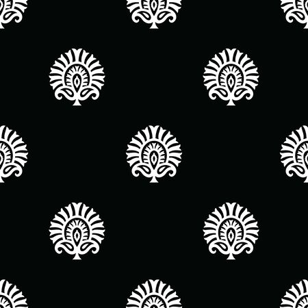 Seamless traditional indian black and white damask pattern 일러스트
